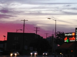 Sunset over the world-famous restaurant The Pantry, LA's oldest 24 hour pancake house